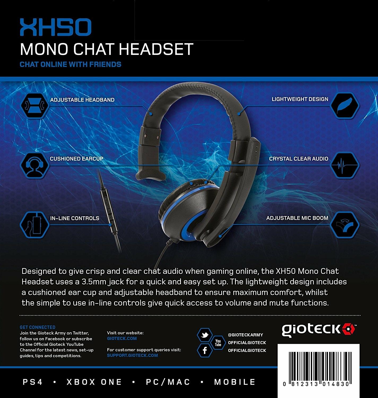Casque Mono Gioteck Xh50 Bleu Xbox One Ps4 Pc Ps4 Référence