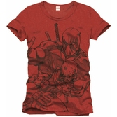 T Shirt Deadpool Scketch Rouge Homme Taille S