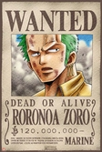 ONE PIECE - Poster 68X98 - Wanted Zoro