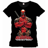 DEADPOOL - MARVEL T-Shirt Front Pose Officiel Black (L)