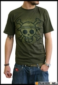 ONE PIECE - T-Shirt Basic Kaki Homme Skull with map Used Version (S)