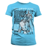 T-Shirt Femme Star Wars : Droids Night Bleu Ciel - L