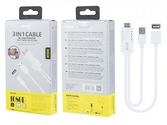 Câble 3 en 1- iphone/micro usb/type c à hdmi- bt839- blanc