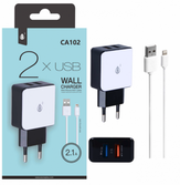 Chargeur dual usb 2 ports 2100mah + cable iphone 5/6/7/8/x ca102