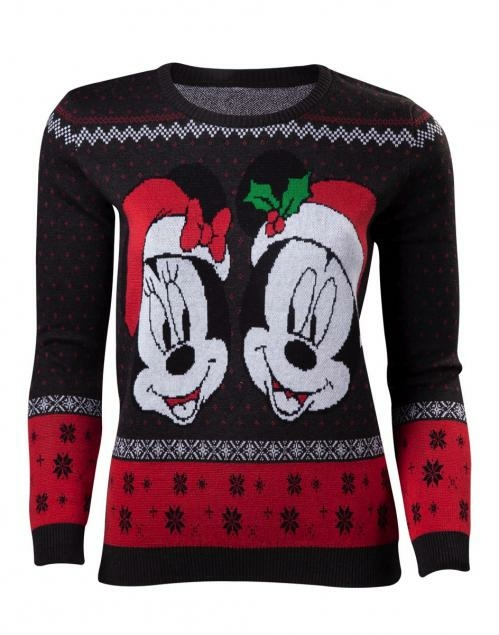 Disney Womens Mickey Minnie Merry Christmas Sweater S